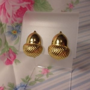 Gold Tone Acorn Clip Earrings